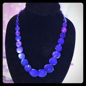 Beautiful blue bargain! Blue disk bead necklace